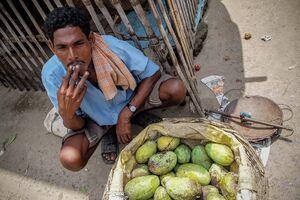 Mango seller resting and smoking
