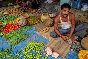 Greengrocer holding money