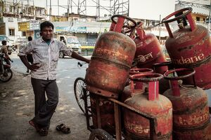 Man delivering gas cylinders
