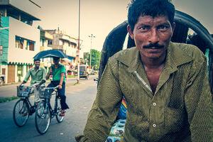 Pin stripe on cycle rickshaw