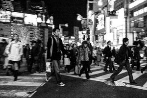 Pedestrian crossing street in Shinjuku