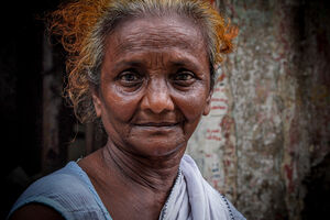Moon face of older woman