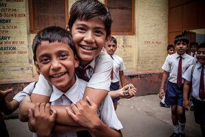 コルカタの小学生の笑顔
