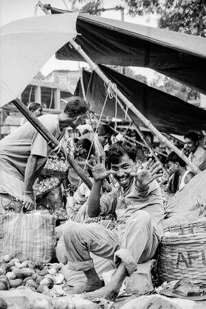 playful street vendor posing