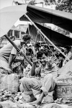 Street vendor posing