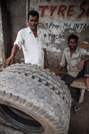 Men and big tires