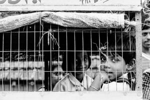 School kids in cage