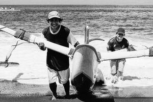 Fishermen shoring boat