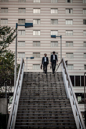 Two businessmen descending