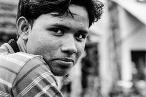 Sideways glance of young man