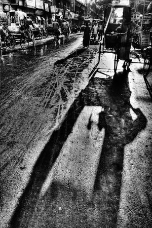 long shadow of cycle rickshaw