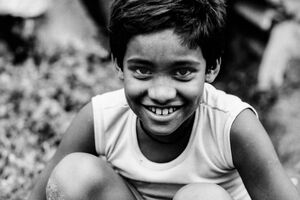 Bashful smile of boy