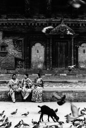 Three women in Durbar Square
