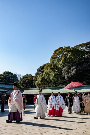 Parade of wedding in Meiji Jingu