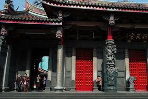 red doors in Hsing Tian Kong