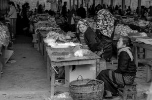 Two women in market