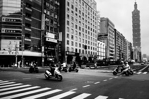 Taipei 101 at end of street