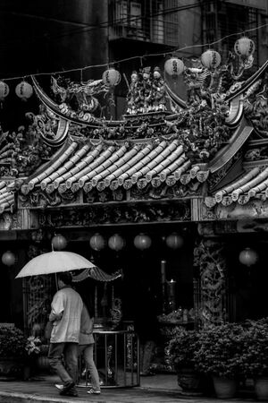 Umbrella in front of temple