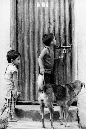 Door and kids