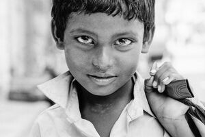 piercing gaze of boy