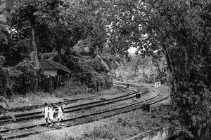 Three boys on railway track