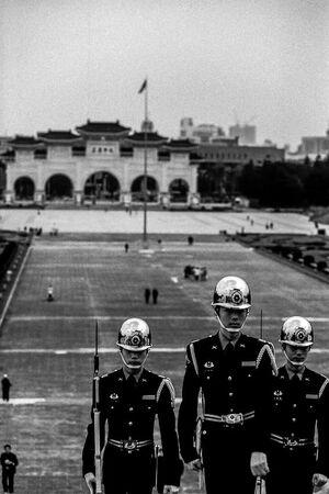 Guardsmen climbing stairway