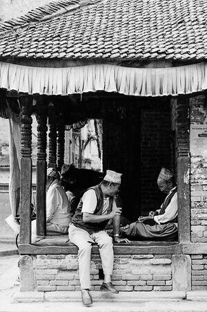 Men chatting in rest station