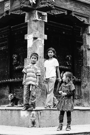 Children in front of temple