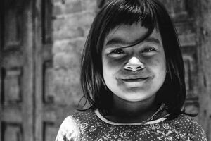 smile of girl with bobbed hair