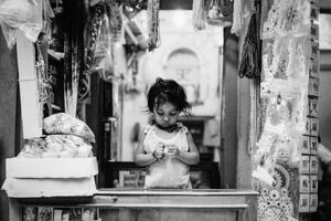 Little girl at the counter