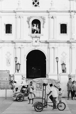 People in front of Vigan cathedral