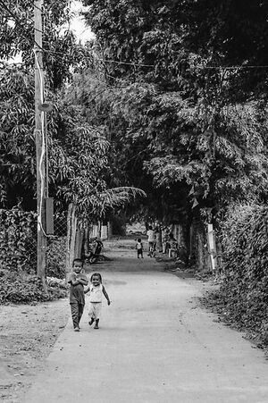 Little kids walking road