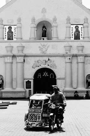 Trishaw in front of Laoag Cathedral