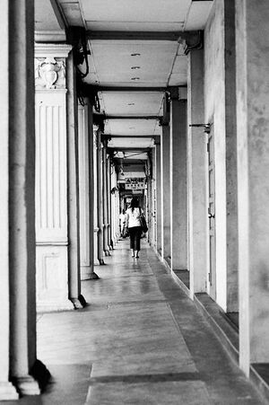Woman walking straight passageway