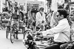 Motorbike and cycle rickshaws in Mymensingh
