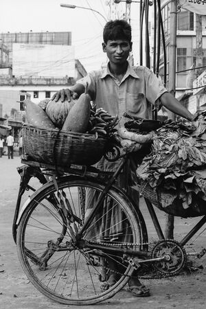 Man peddling with bicycle