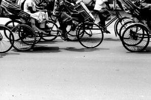 Wheels of cycle rickshaw