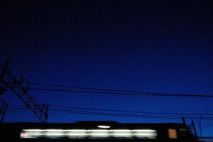 Train running in darkness
