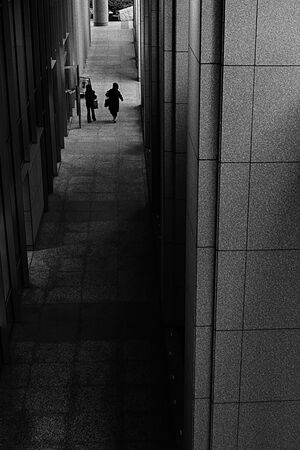 Two silhouetted figures walking in dim passage