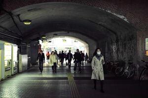 Pedestrians walking railway underpass