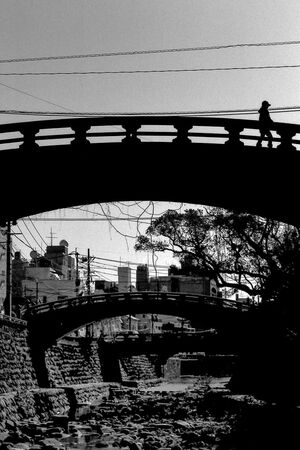silhouette walking on bridge