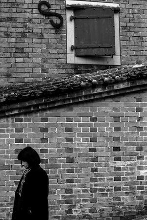 煉瓦造りの壁の前の女
