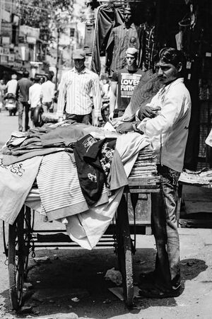 Man selling clothes on the street