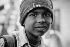 Boy wearing knit cap