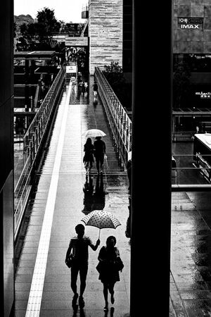 Young couple walking under umbrella