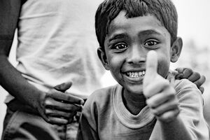 Boy making thumbs-up