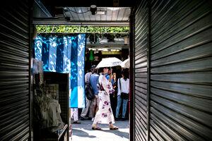 Young woman wearing Kimono