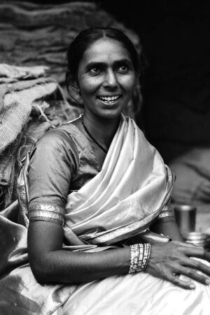 Mother wearing saree