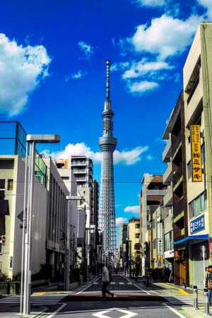 Skytree towering at end of street