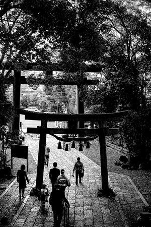 世田谷八幡の参道を歩く家族連れ